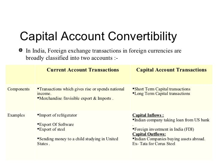 rupee convertibility on capital account This article discusses the terms capital account convertibility and current  in other words, indians can convert their rupees into dollars or euros and vice versa.