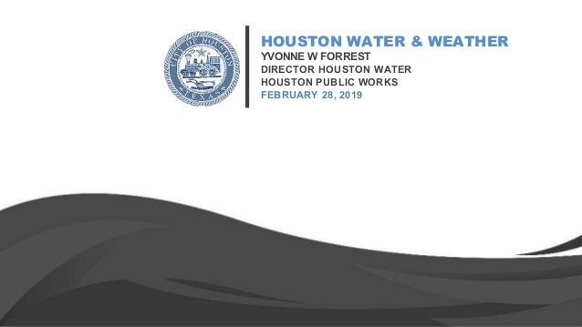 HOUSTON WATER & WEATHER YVONNE W FORREST DIRECTOR HOUSTON WATER HOUSTON PUBLIC WORKS FEBRUARY 28, 2019