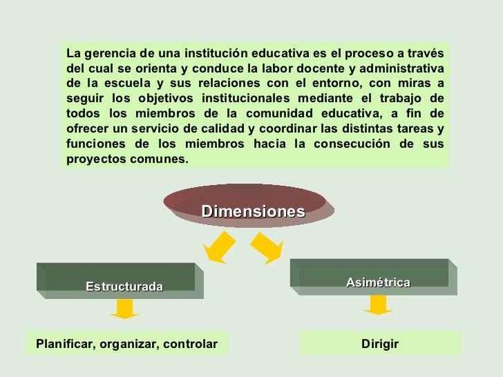 La gerencia de una institución educativa es el proceso a través del cual se orienta y conduce la labor docente y administr...