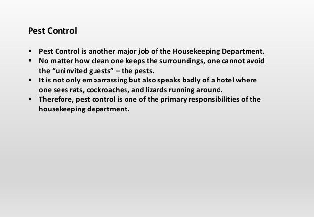 importance of pest control in housekeeping
