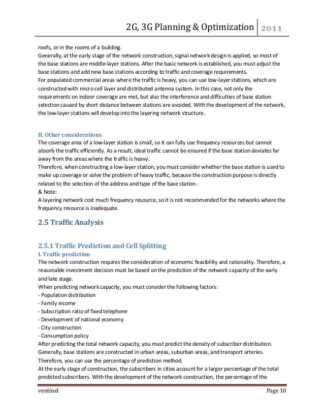 2G, 3G Planning & Optimization  ventinel Page 10  roofs, or in the rooms of a building. Generally, at the early stage of t...