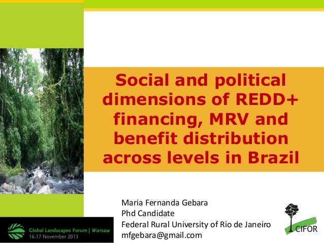 Social and political dimensions of REDD+ financing, MRV and benefit distribution across levels in Brazil Maria Fernanda Ge...