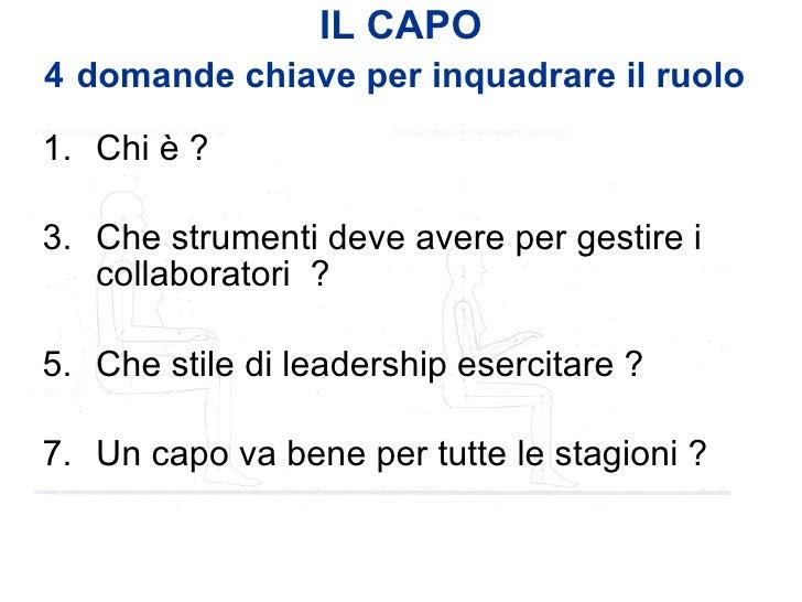 IL CAPO 4   domande chiave per inquadrare il ruolo   <ul><li>Chi è ? </li></ul><ul><li>Che strumenti deve avere per gestir...