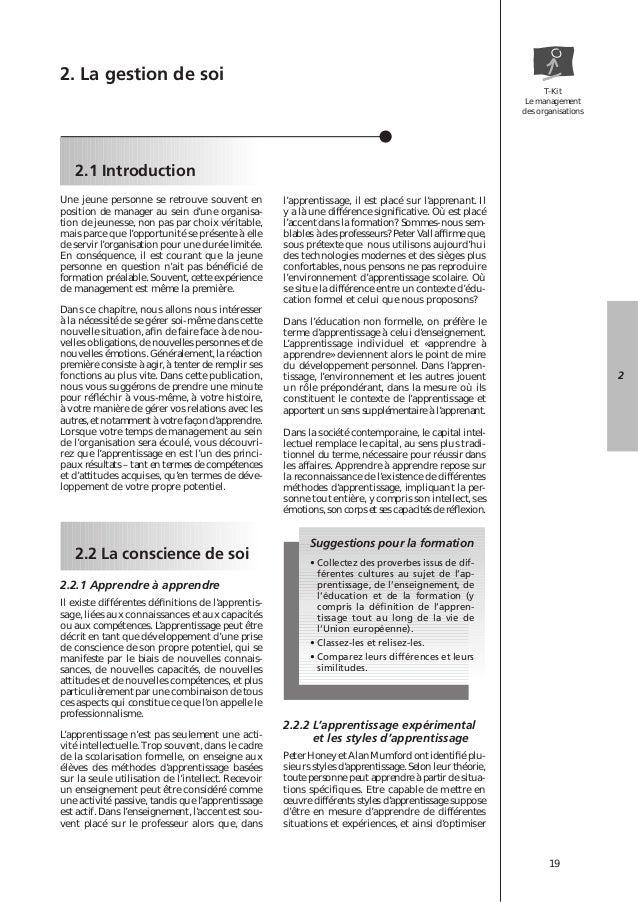 T-Kit  Le management  des organisations  19  2.1 Introduction  2  Une jeune personne se retrouve souvent en  position de m...