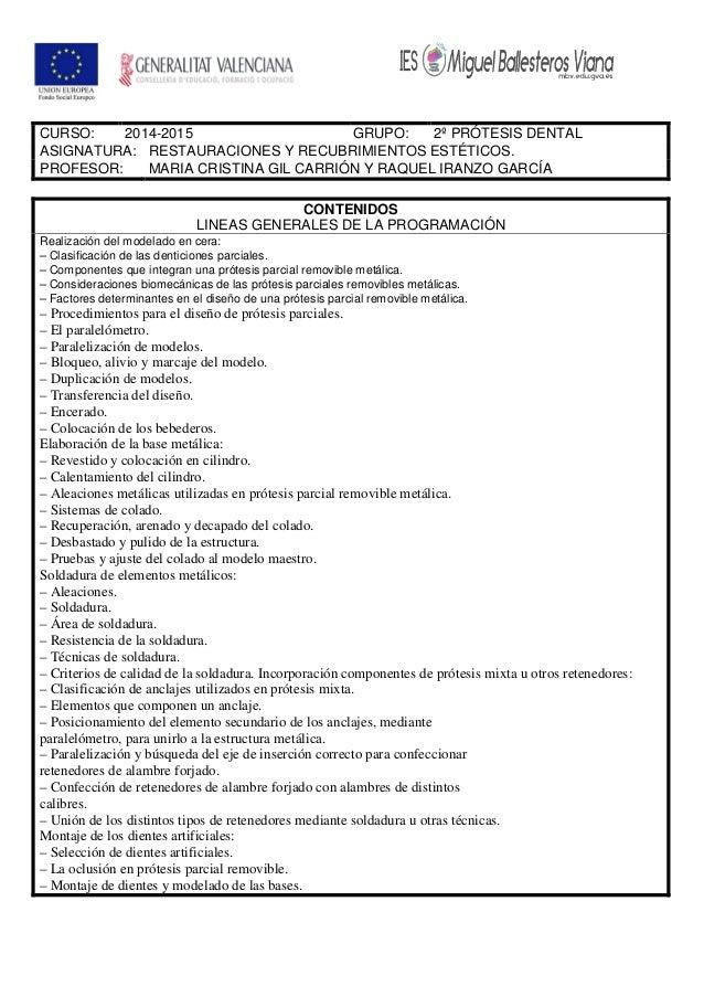 CURSO: 2014-2015 GRUPO: 2º PRÓTESIS DENTAL ASIGNATURA: RESTAURACIONES Y RECUBRIMIENTOS ESTÉTICOS. PROFESOR: MARIA CRISTINA...