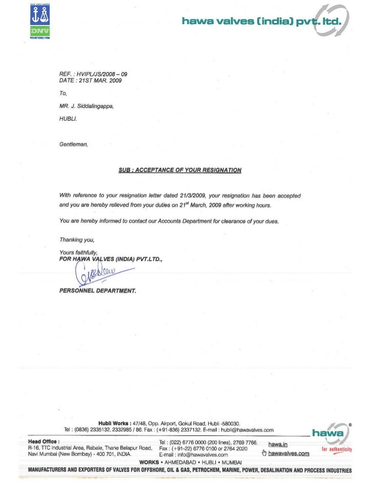 Clearance Letter For Resigned Employee
