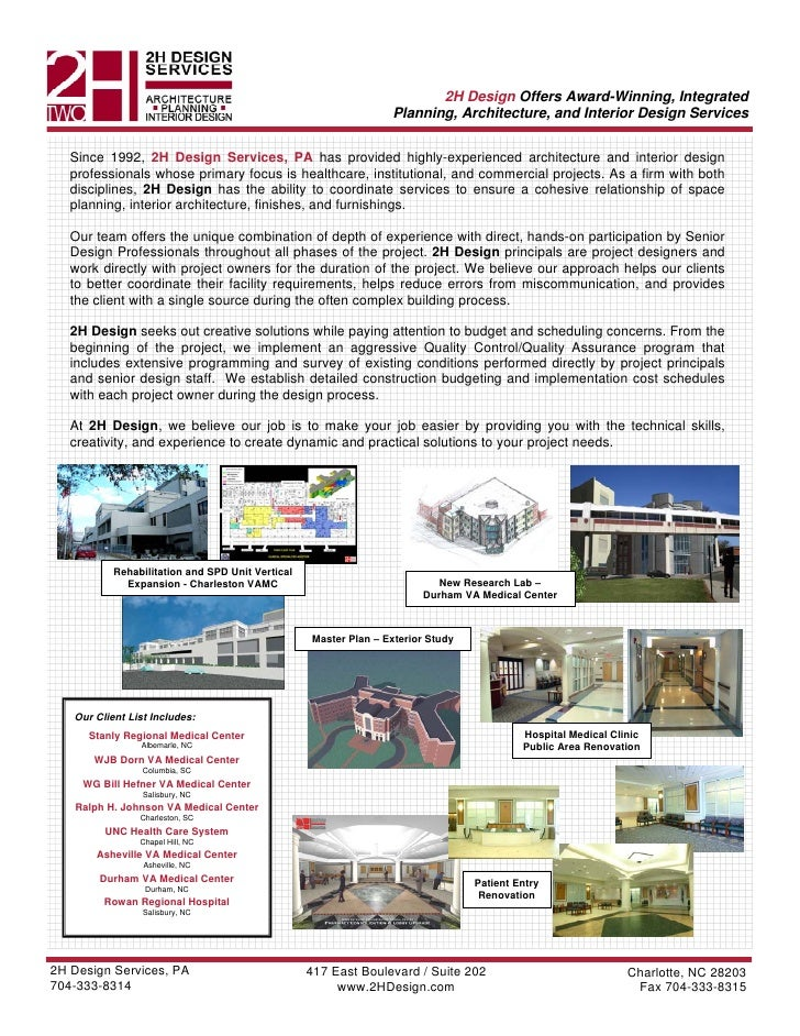 2H Design Offers Award-Winning, Integrated                                                                  Planning, Arch...