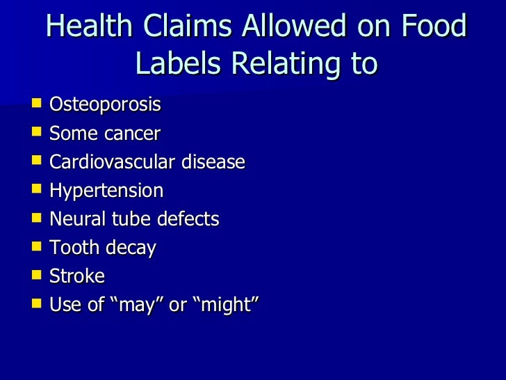 What Health Claims Are Allowed On Food Labels