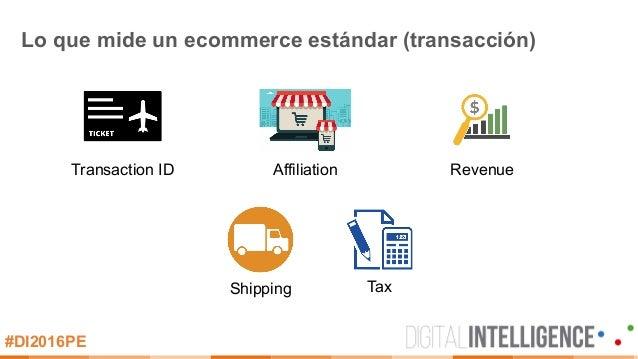 #DI2016PE Lo que mide un ecommerce estándar (transacción) Transaction ID Affiliation Revenue Shipping Tax