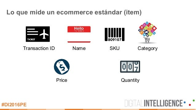 #DI2016PE Lo que mide un ecommerce estándar (item) Transaction ID Name SKU Category Price Quantity