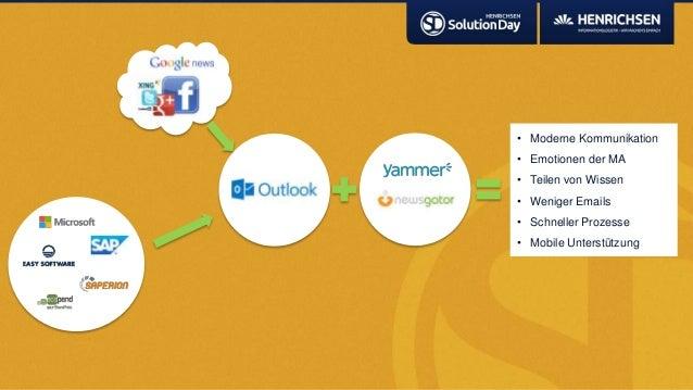 • Moderne Kommunikation• Emotionen der MA• Teilen von Wissen• Weniger Emails• Schneller Prozesse• Mobile Unterstützung