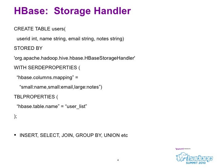 Hive integration hbase and rcfile hadoopsummit2010 - How to create table in hbase ...