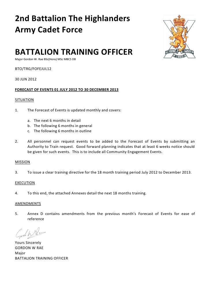 2nd Battalion The HighlandersArmy Cadet ForceBATTALION TRAINING OFFICERMajor Gordon W. Rae BSc(Hons) MSc MBCS DBBTO/TRG/FO...