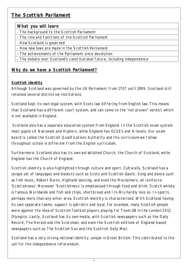 The Scottish Parliament What you will learn -  The background to the Scottish Parliament The role and functions of the Sco...