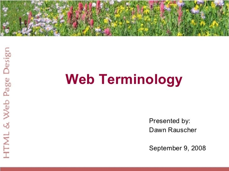 Web Terminology Presented by: Dawn Rauscher September 9, 2008