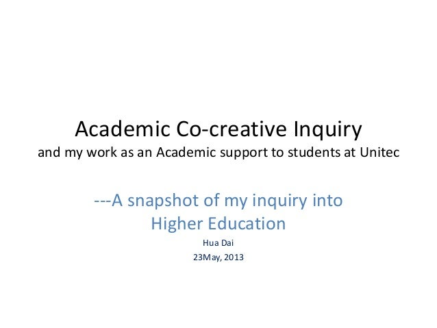 Academic Co-creative Inquiry and my work as an Academic support to students at Unitec ---A snapshot of my inquiry into Hig...