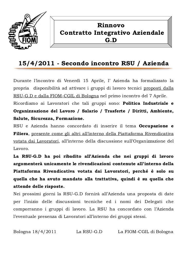 Rinnovo                      Contratto Integrativo Aziendale                                   G.D  15/4/2011 - Secondo in...