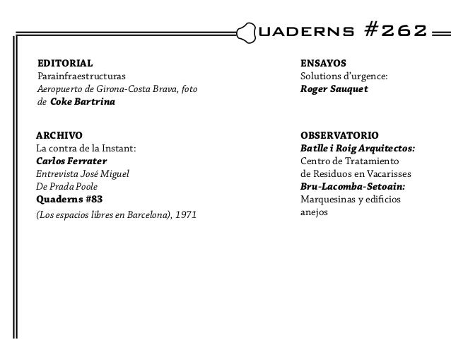uaderns #262EDITORIAL                                    ENSAYOSParainfraestructuras                          Solutions d...