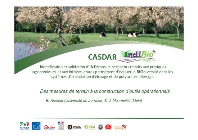 CASDAR  Identification et validation d'INDIcateurs pertinents relatifs aux pratiques  agronomiques et aux infrastructures ...
