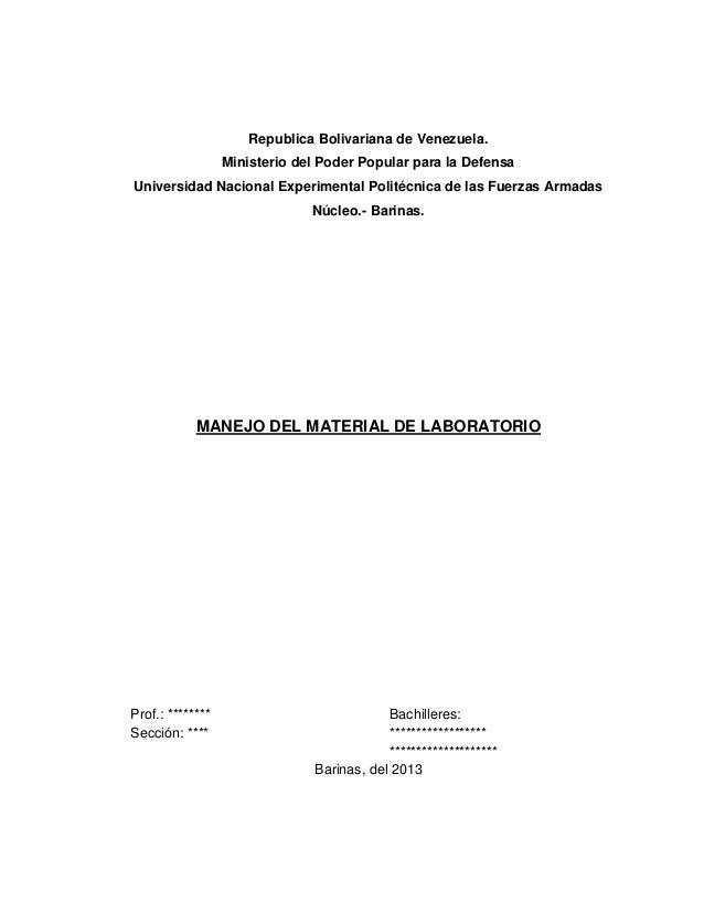 Republica Bolivariana de Venezuela. Ministerio del Poder Popular para la Defensa Universidad Nacional Experimental Politéc...