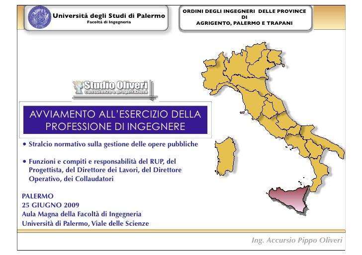 ORDINI DEGLI INGEGNERI DELLE PROVINCE           Università degli Studi di Palermo                                DI       ...