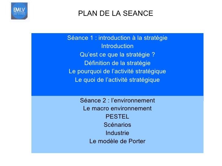 <ul><li>Séance 1 : introduction à la stratégie </li></ul><ul><li>Introduction </li></ul><ul><li>Qu'est ce que la stratégie...
