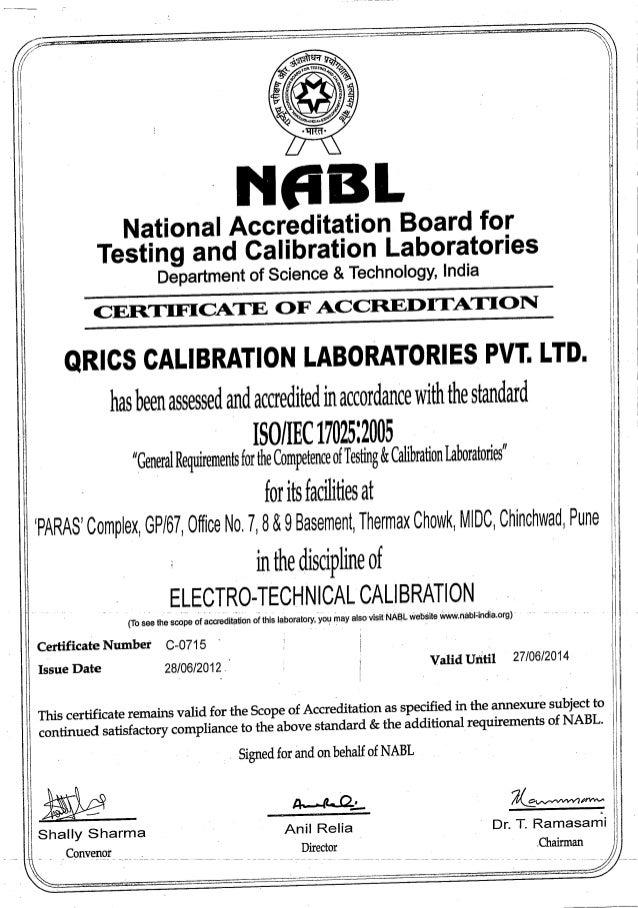 Qrics iso electro technical c-0715