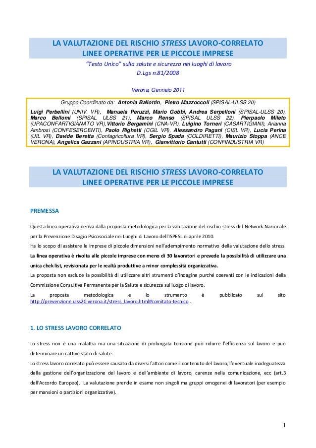 LA VALUTAZIONE DEL RISCHIO STRESS LAVORO-CORRELATO                 LINEE OPERATIVE PER LE PICCOLE IMPRESE                 ...