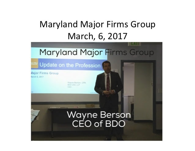Maryland	Major	Firms	Group	 March,	6,	2017