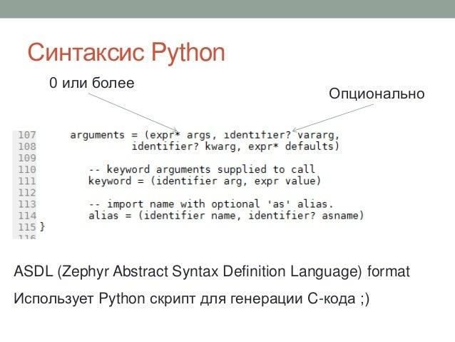 Синтаксис Python ASDL (Zephyr Abstract Syntax Definition Language) format Использует Python скрипт для генерации C-кода ;)...
