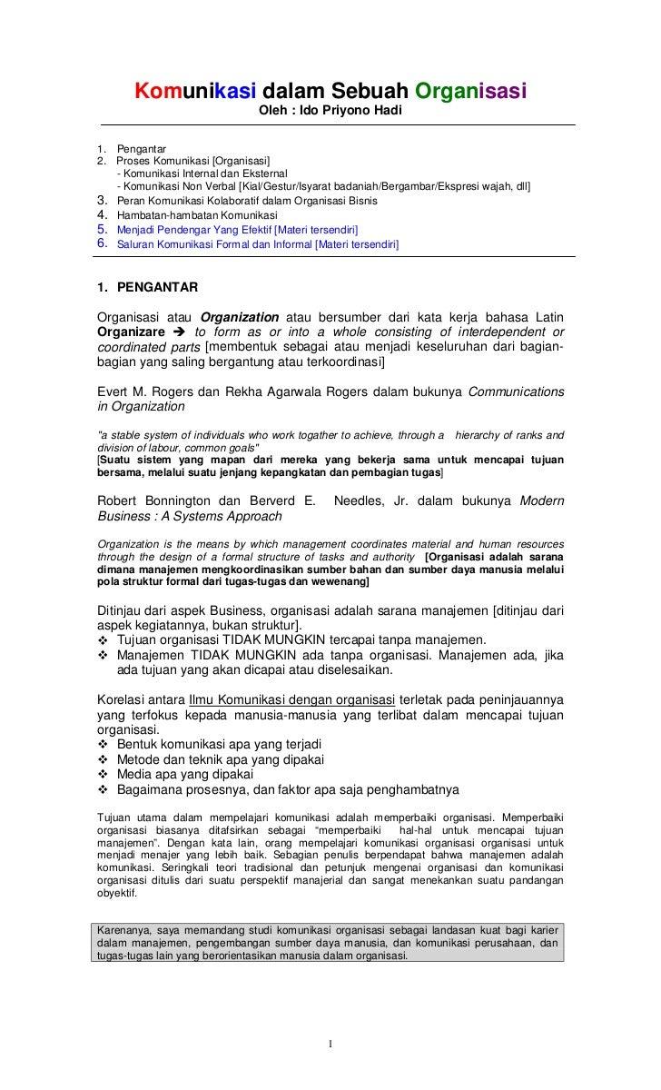Komunikasi dalam Sebuah Organisasi                                Oleh : Ido Priyono Hadi1. Pengantar2. Proses Komunikasi ...