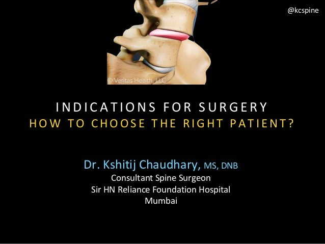 Dr. Kshitij Chaudhary, MS, DNB Consultant Spine Surgeon Sir HN Reliance Foundation Hospital Mumbai @kcspine I N D I C A T ...