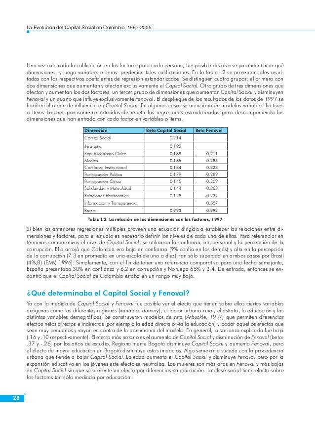 La Evolución del Capital Social en Colombia, 1997-2005  30  estructuras cubren el menor nivel de población de todos los pa...