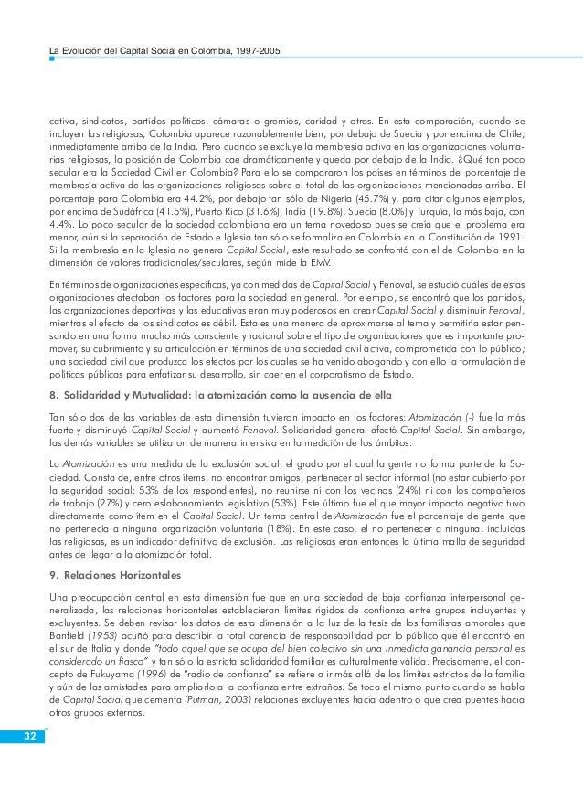 La Evolución del Capital Social en Colombia, 1997-2005  34  Los ámbitos  Una mirada distinta e independiente a la anterior...