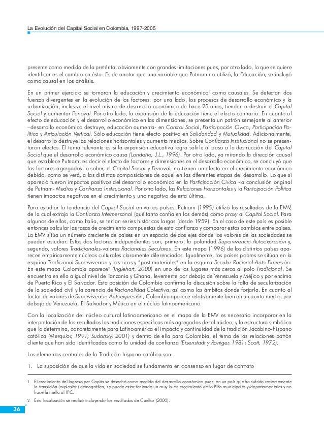 La Evolución del Capital Social en Colombia, 1997-2005  38  la polaridad del particularismo no ideológico (en contraste co...