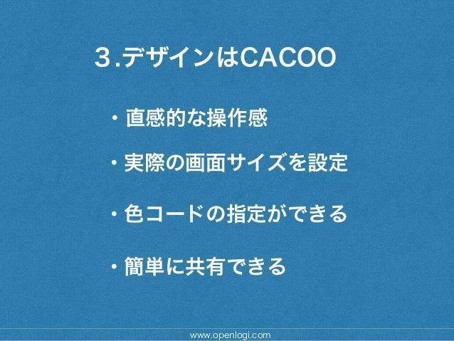 3.デザインはCACOO www.openlogi.com ・直感的な操作感 ・色コードの指定ができる ・実際の画面サイズを設定 ・簡単に共有できる
