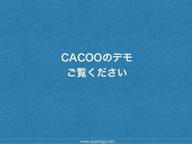 CACOOのデモ ご覧ください www.openlogi.com