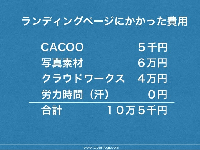 www.openlogi.com ランディングページにかかった費用 ! CACOO 5千円 写真素材6万円 クラウドワークス4万円 労力時間(汗)0円 合計10万5千円