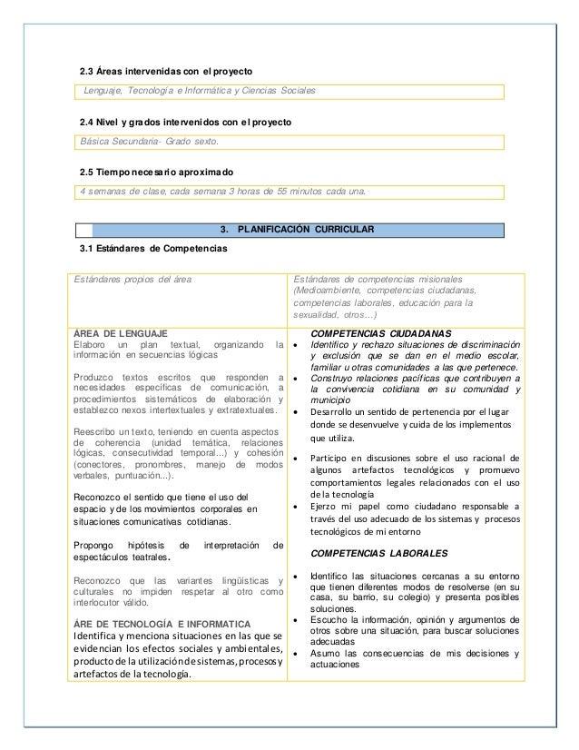 2.3 Áreas intervenidas con el proyecto  Lenguaje, Tecnología e Informática y Ciencias Sociales  2.4 Nivel y grados interve...