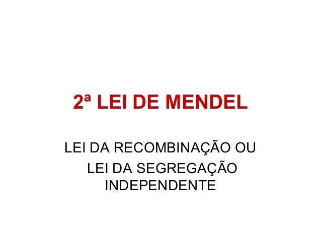 2ª LEI DE MENDEL LEI DA RECOMBINAÇÃO OU LEI DA SEGREGAÇÃO INDEPENDENTE