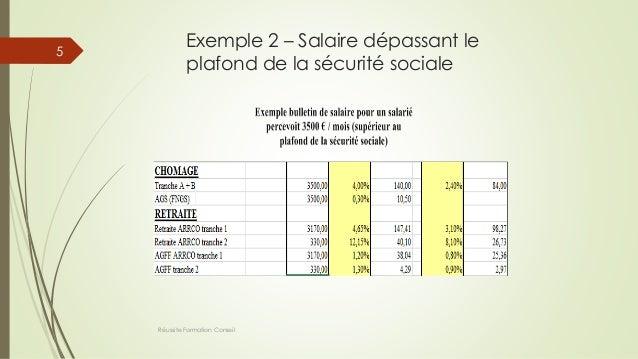 Exemple 2 – Salaire dépassant le plafond de la sécurité sociale Réussite Formation Conseil 5