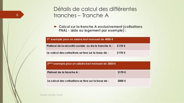 Détails de calcul des différentes tranches – Tranche A  Calcul sur la tranche A exclusivement (cotisations FNAL - aide au...