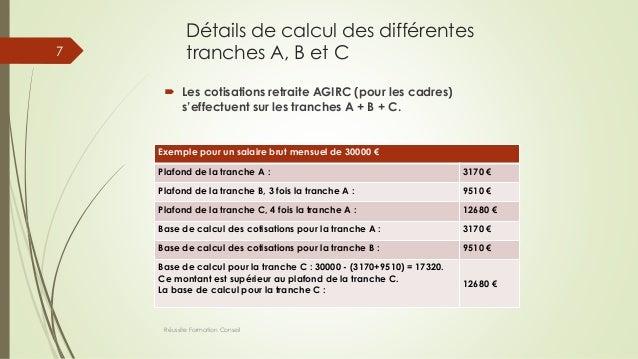 Détails de calcul des différentes tranches A, B et C  Les cotisations retraite AGIRC (pour les cadres) s'effectuent sur l...