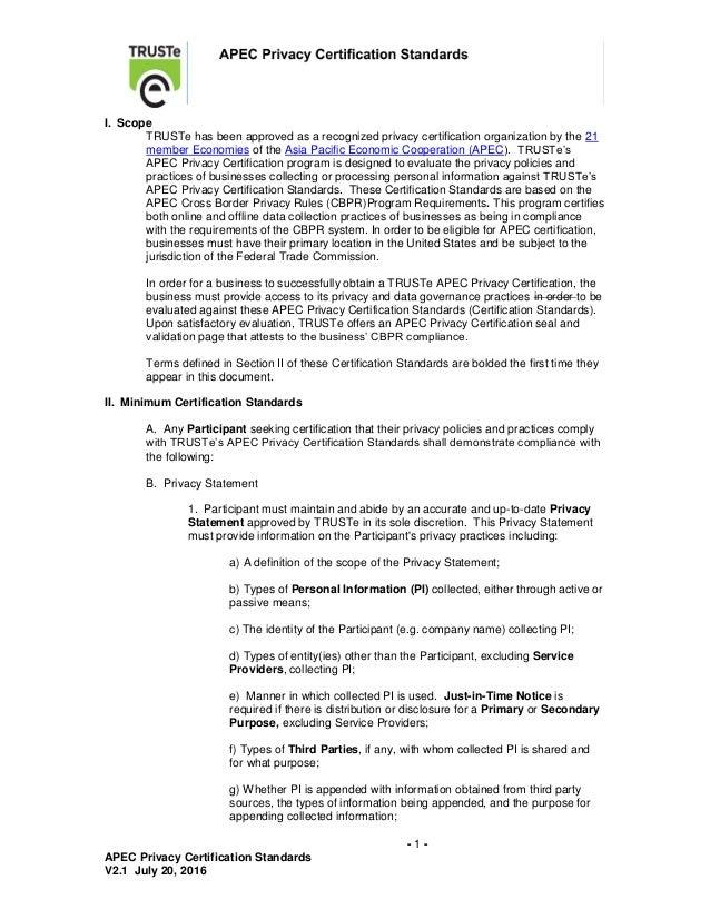 trus te apec certification standards v2 12