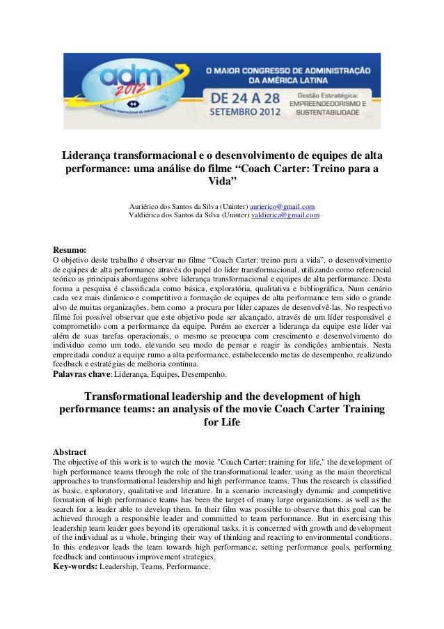 """Liderança transformacional e o desenvolvimento de equipes de alta performance: uma análise do filme """"Coach Carter: Treino ..."""