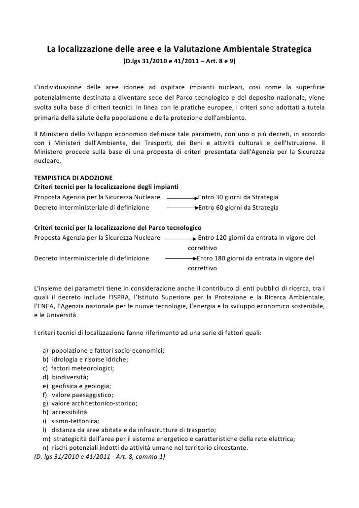 La localizzazione delle aree e la Valutazione Ambientale Strategica                                      (D.lgs 31/2010 – ...