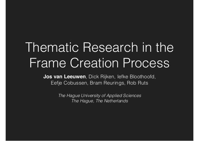 Thematic Research in the Frame Creation Process Jos van Leeuwen, Dick Rijken, Iefke Bloothoofd, Eefje Cobussen, Bram Reur...