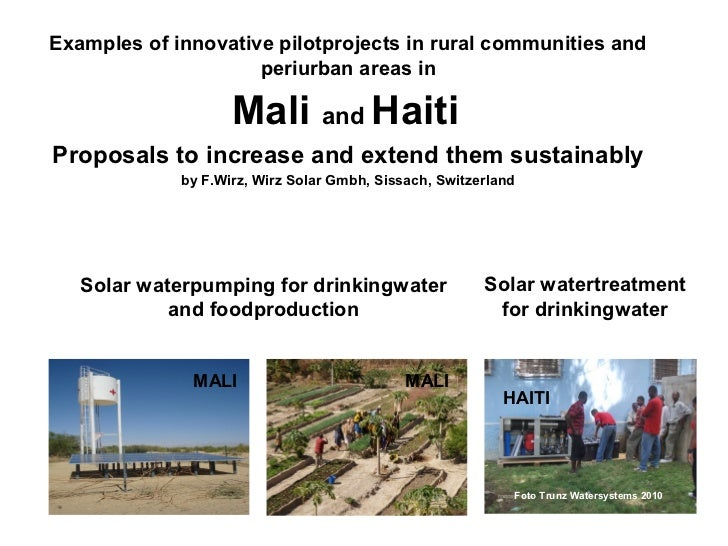 Examples of innovative pilotprojects in rural communities and                     periurban areas in                    Ma...