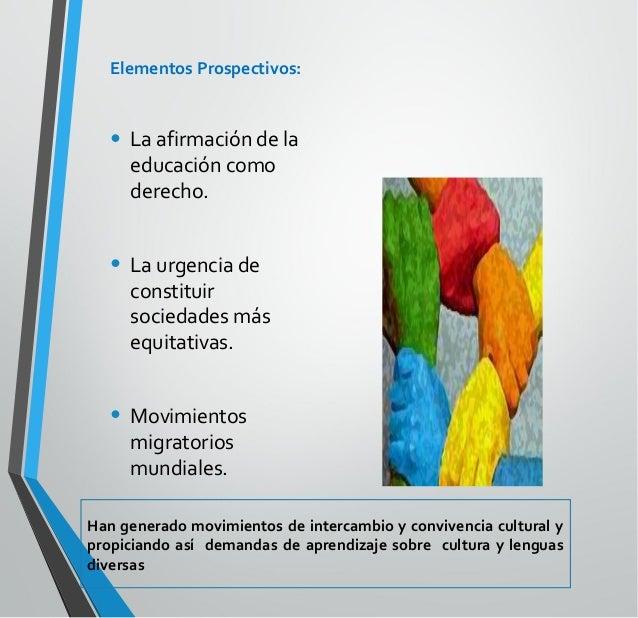 Elementos Prospectivos: • Cambios en el conocimiento humano y en las tecnologías que han acompañado los procesos de produc...
