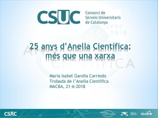 Maria Isabel Gandia Carriedo Trobada de l'Anella Científica MACBA, 21-6-2018 25 anys d'Anella Científica: més que una xarxa